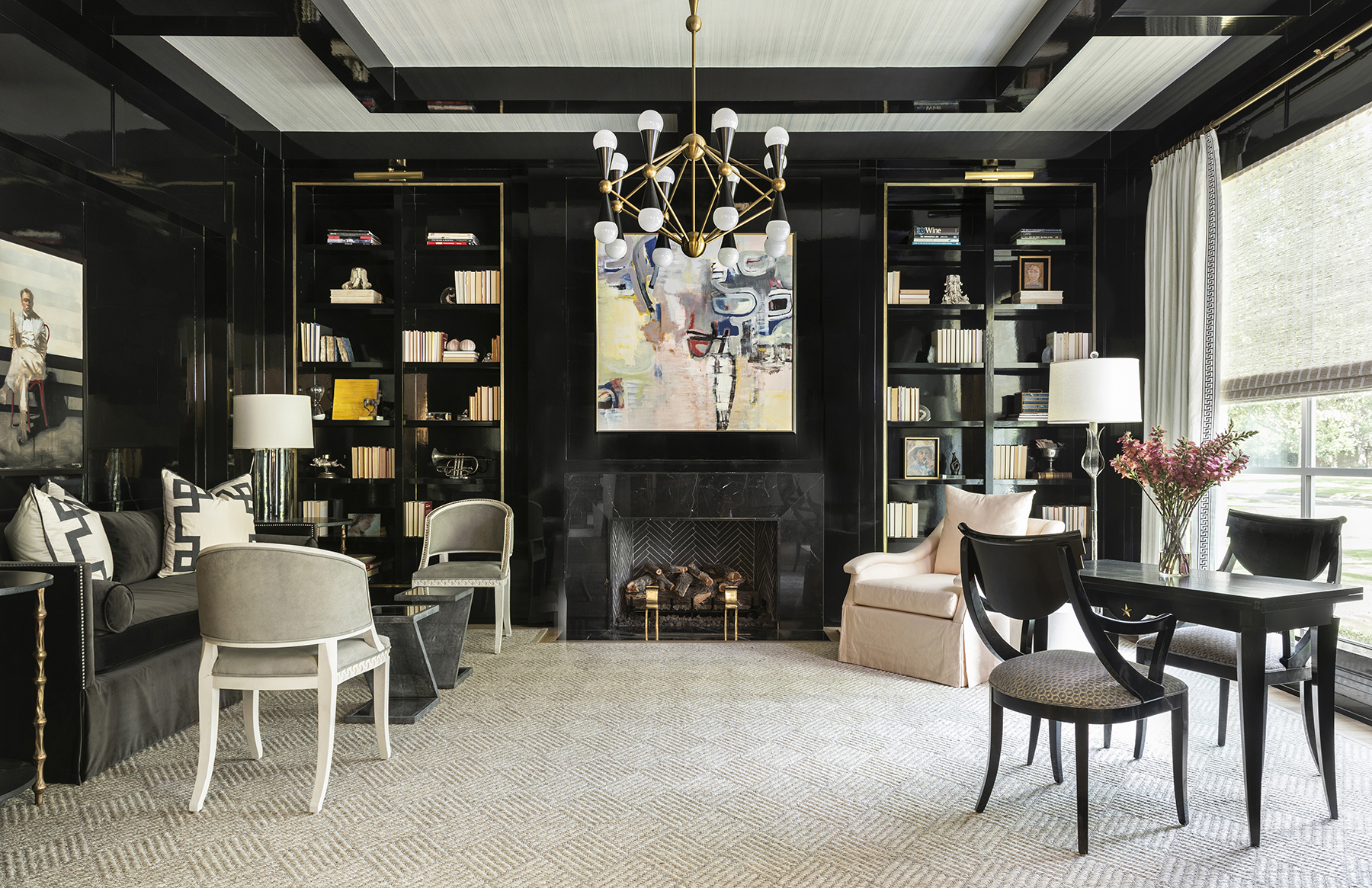 Bespoke reading room space with black walls and book shelves