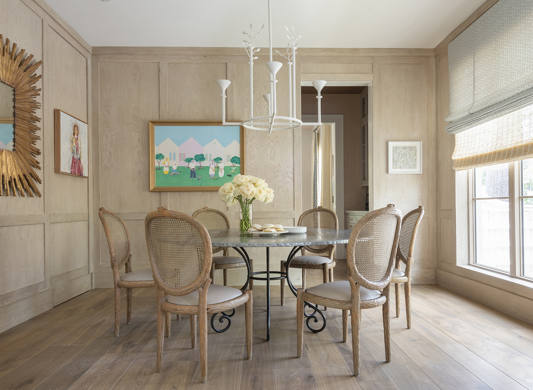 Dining room with bespoke wooden chairs