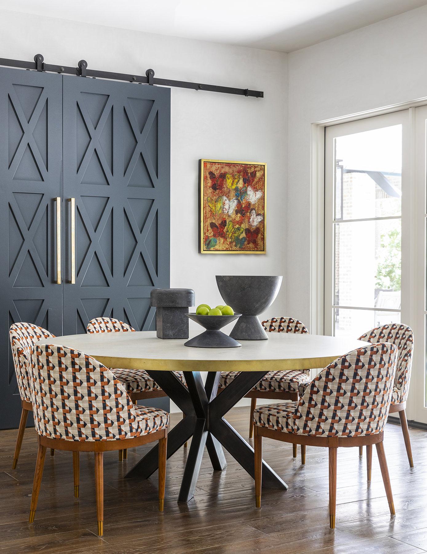 Custom blue doors to dining room