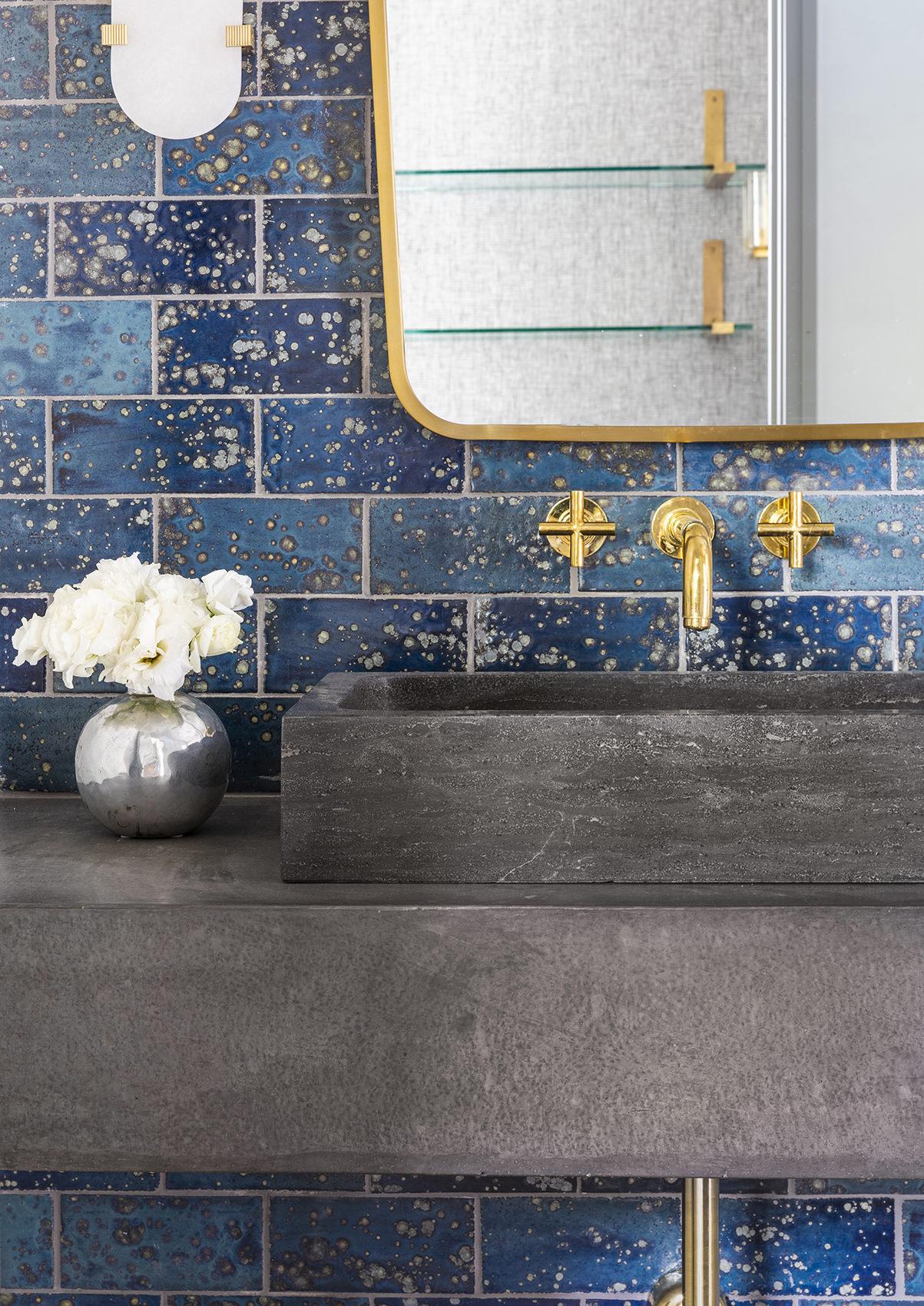 custom blue washroom