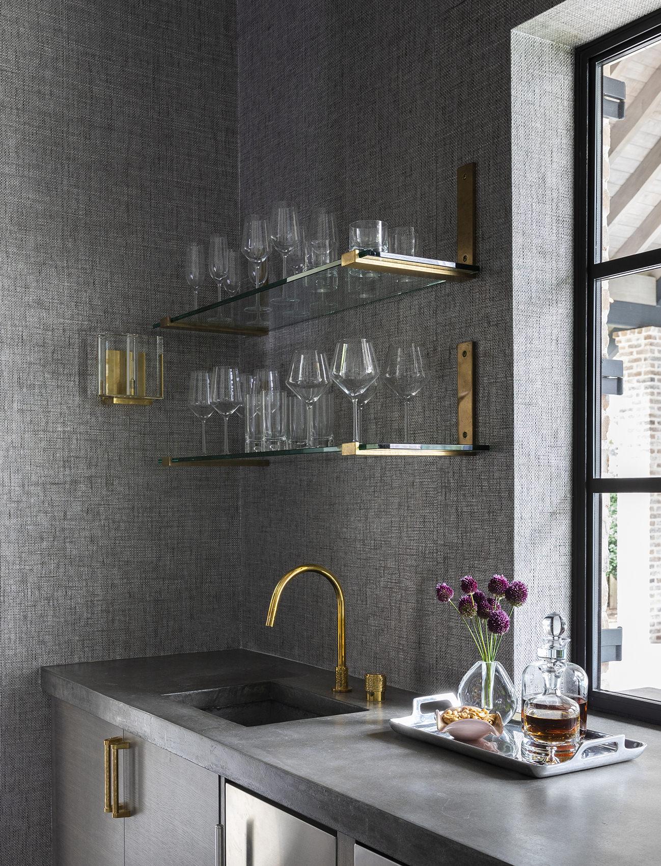 custom wine glass shelf