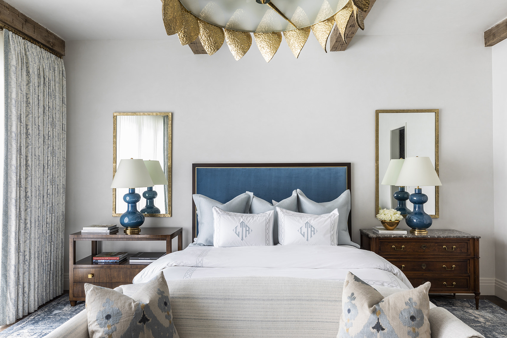custom bedroom with gold an blue accents