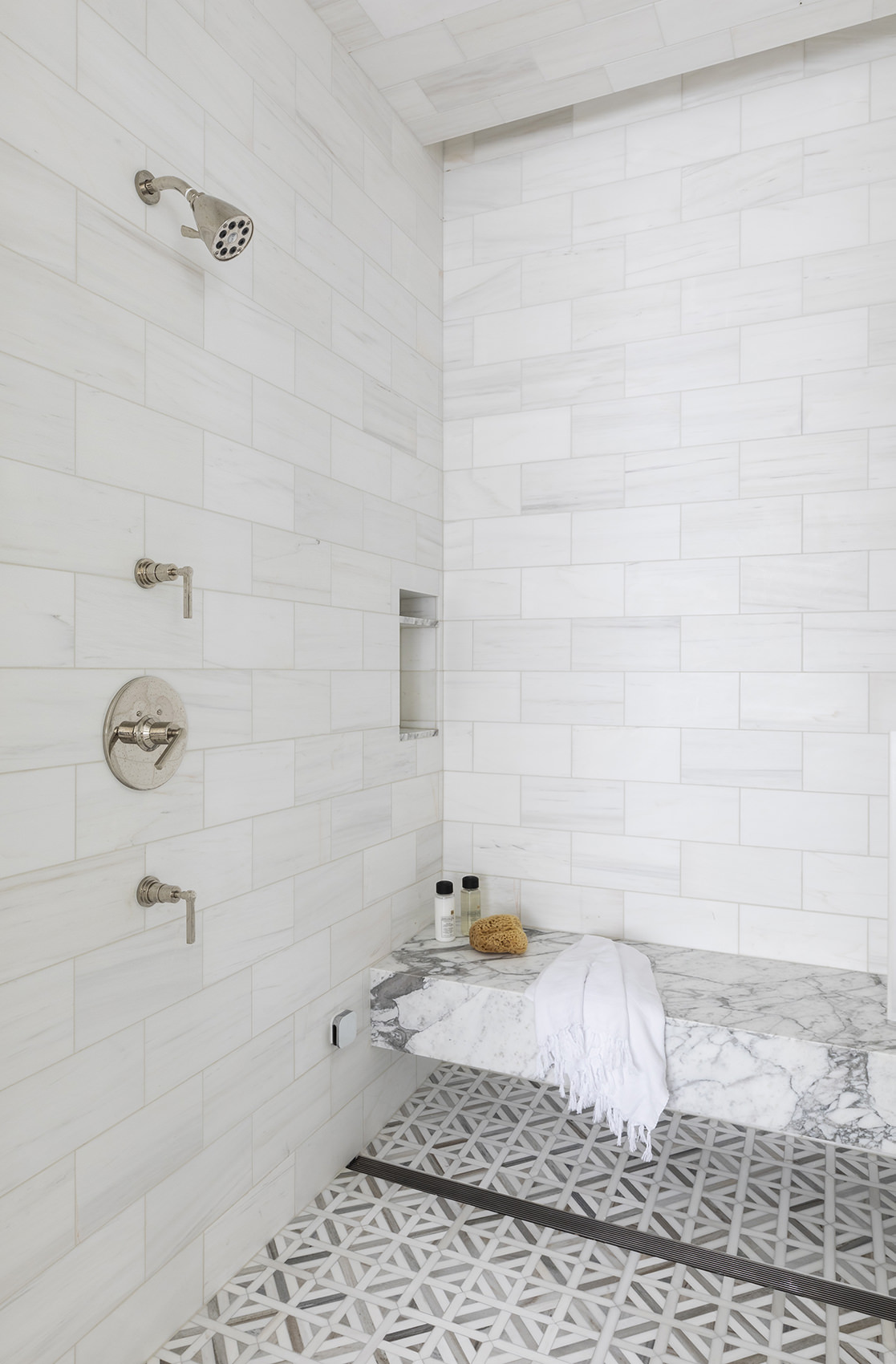 custom shower with marble