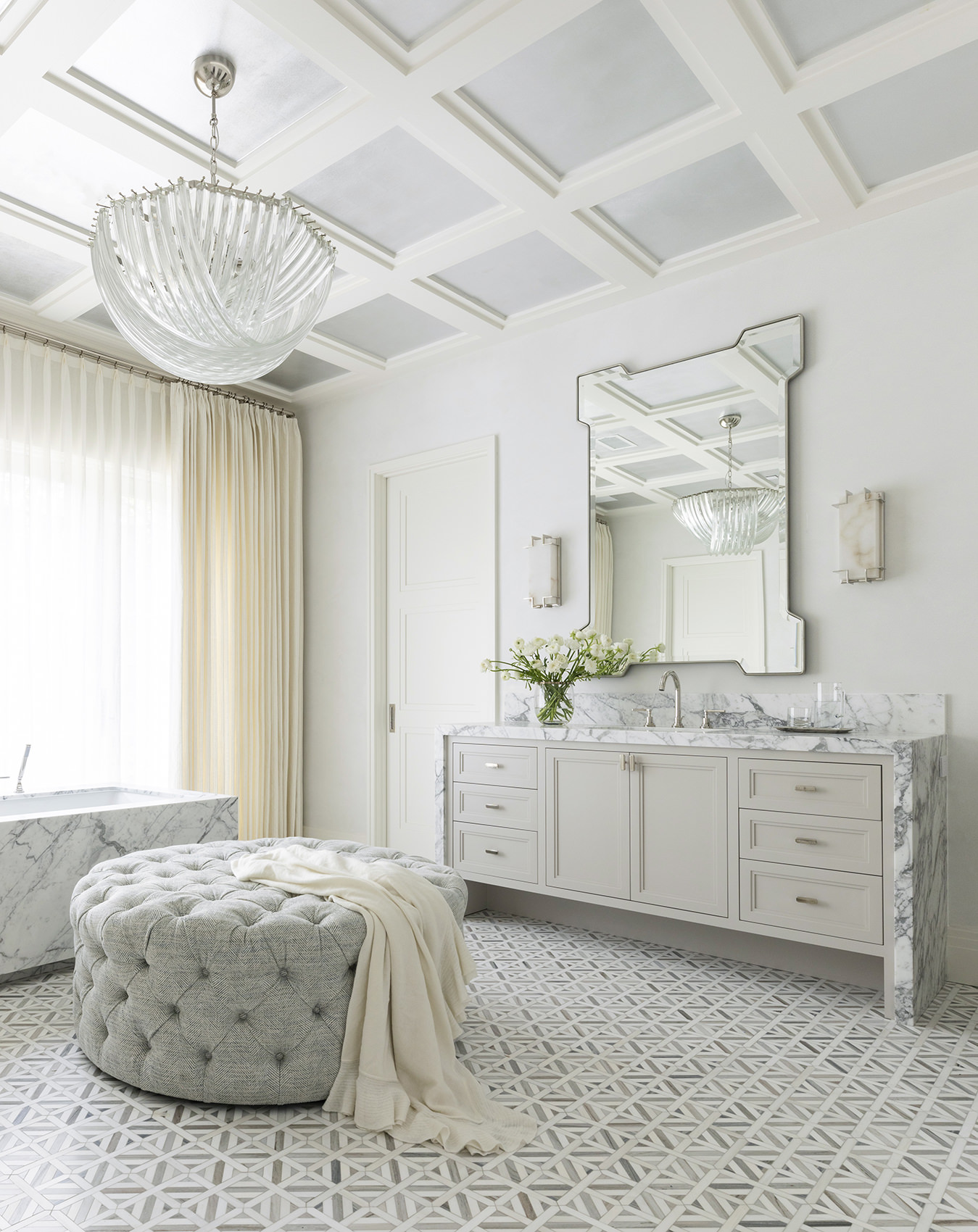 wide angle view of custom bathroom with marble