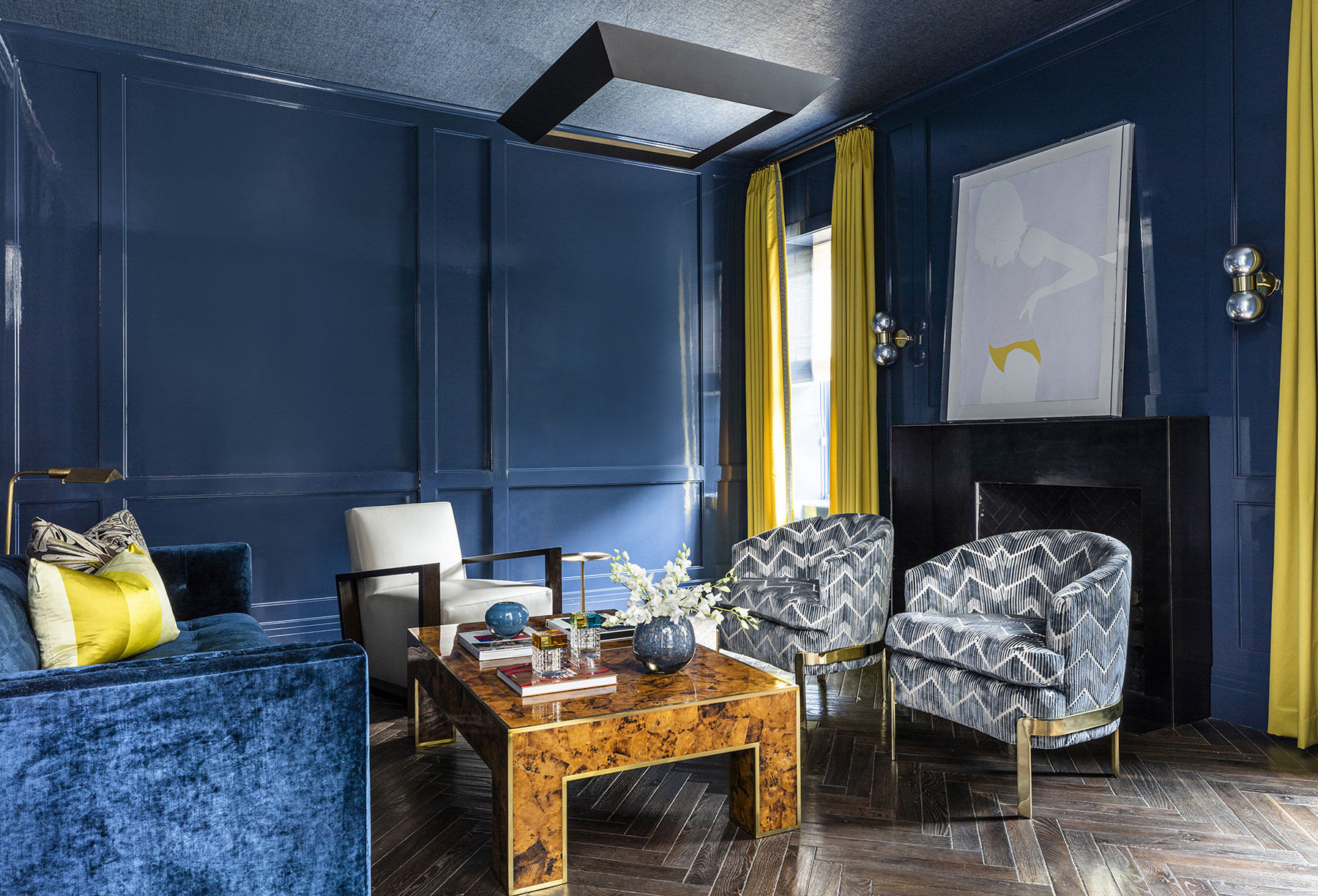 modern custom living room interior with blue and yellow accents