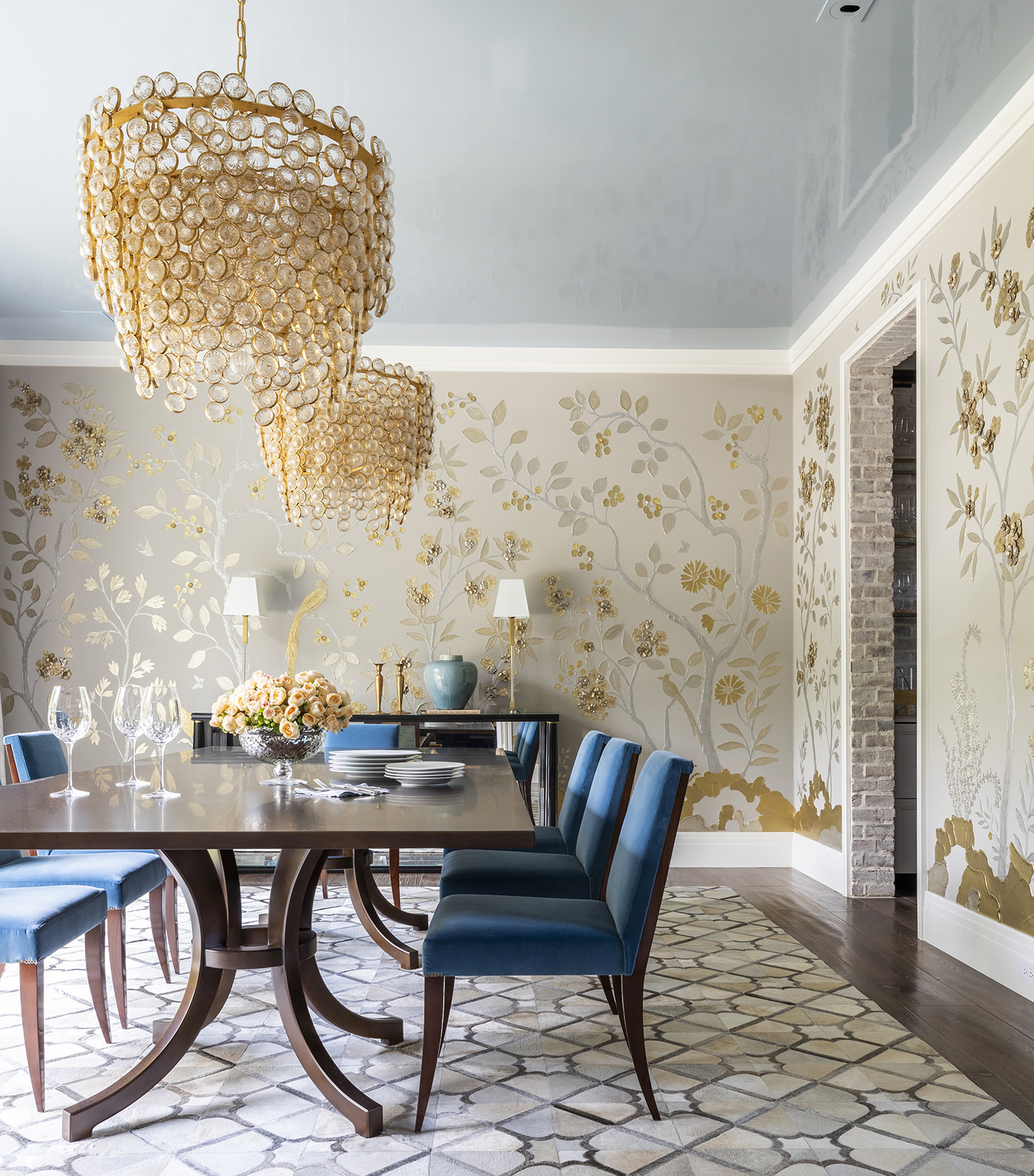 blue accent chairs for dining room