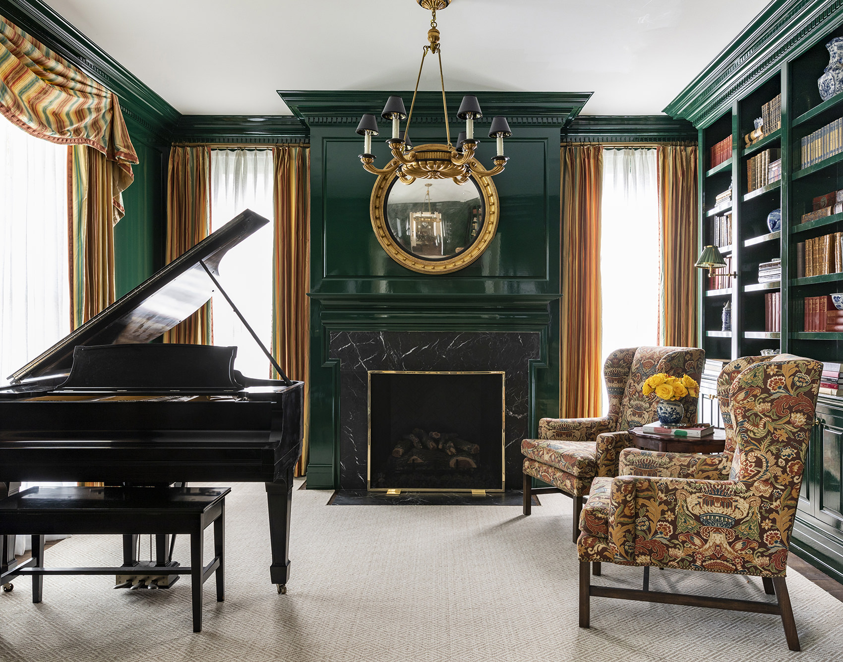 timeless piano room with dark green walls