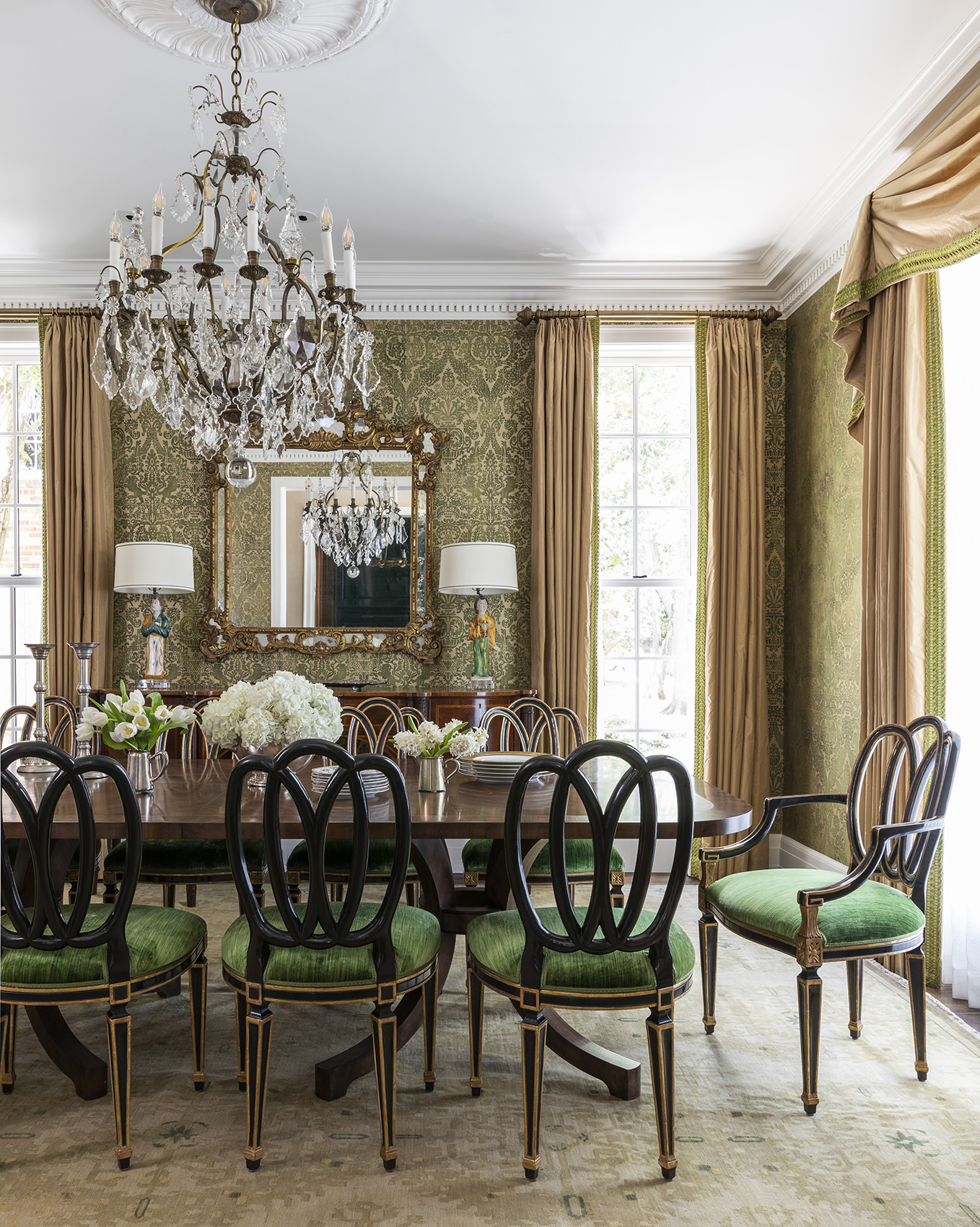 timeless and traditional dining room with green