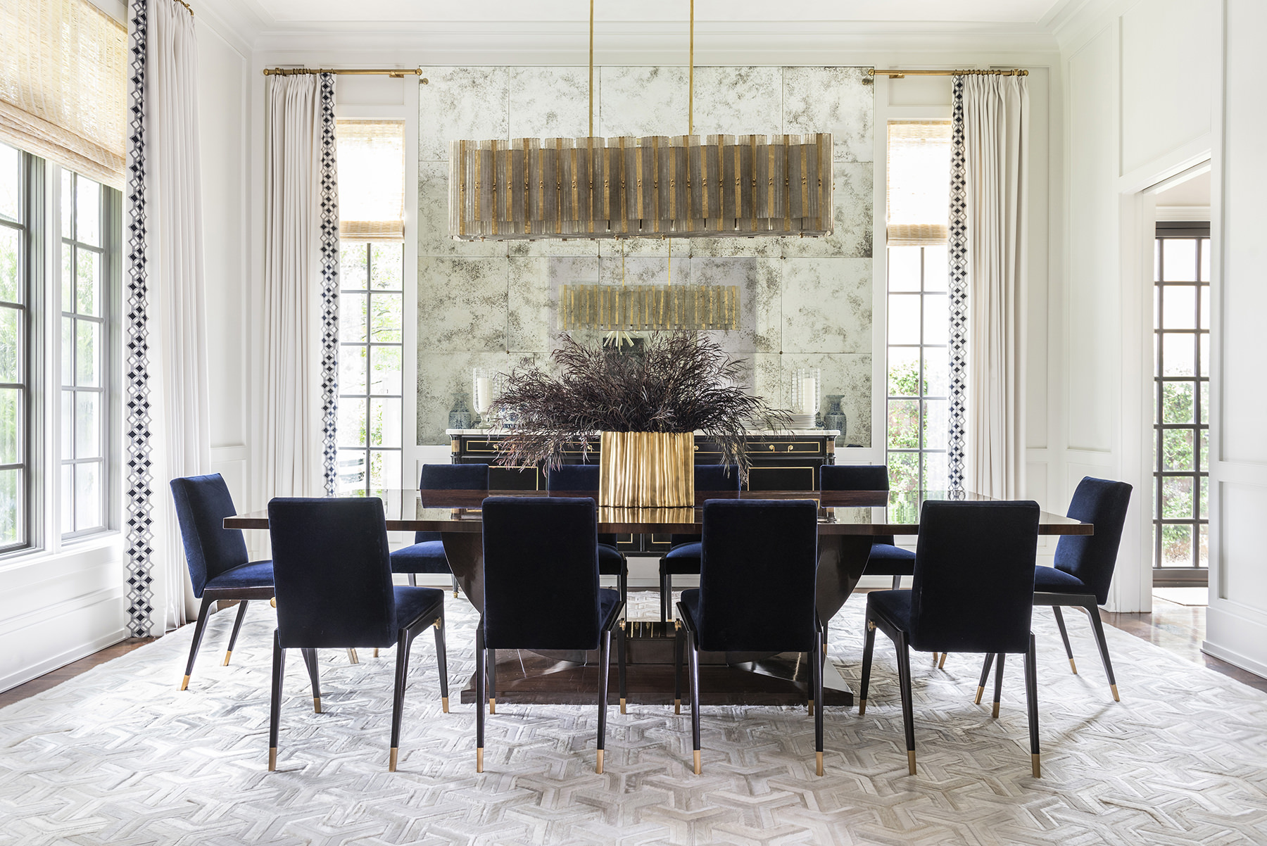 elegant dining room with long table