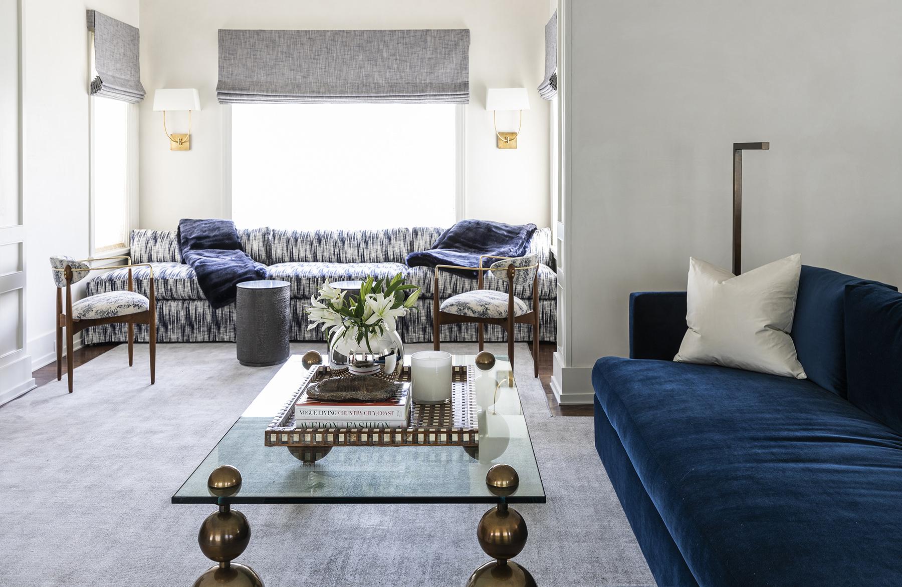 elegant blue sofas in living room