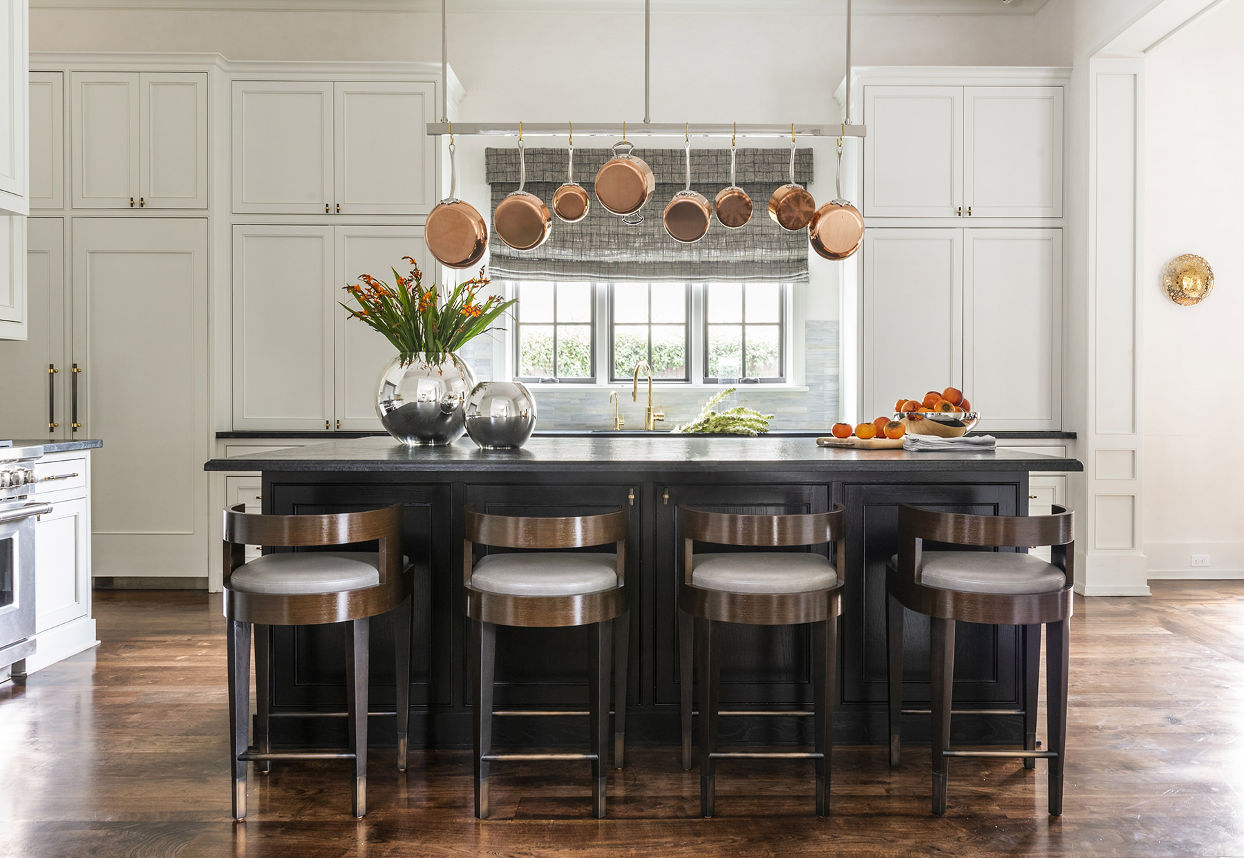 elegant kitchen bar with orange floral accents