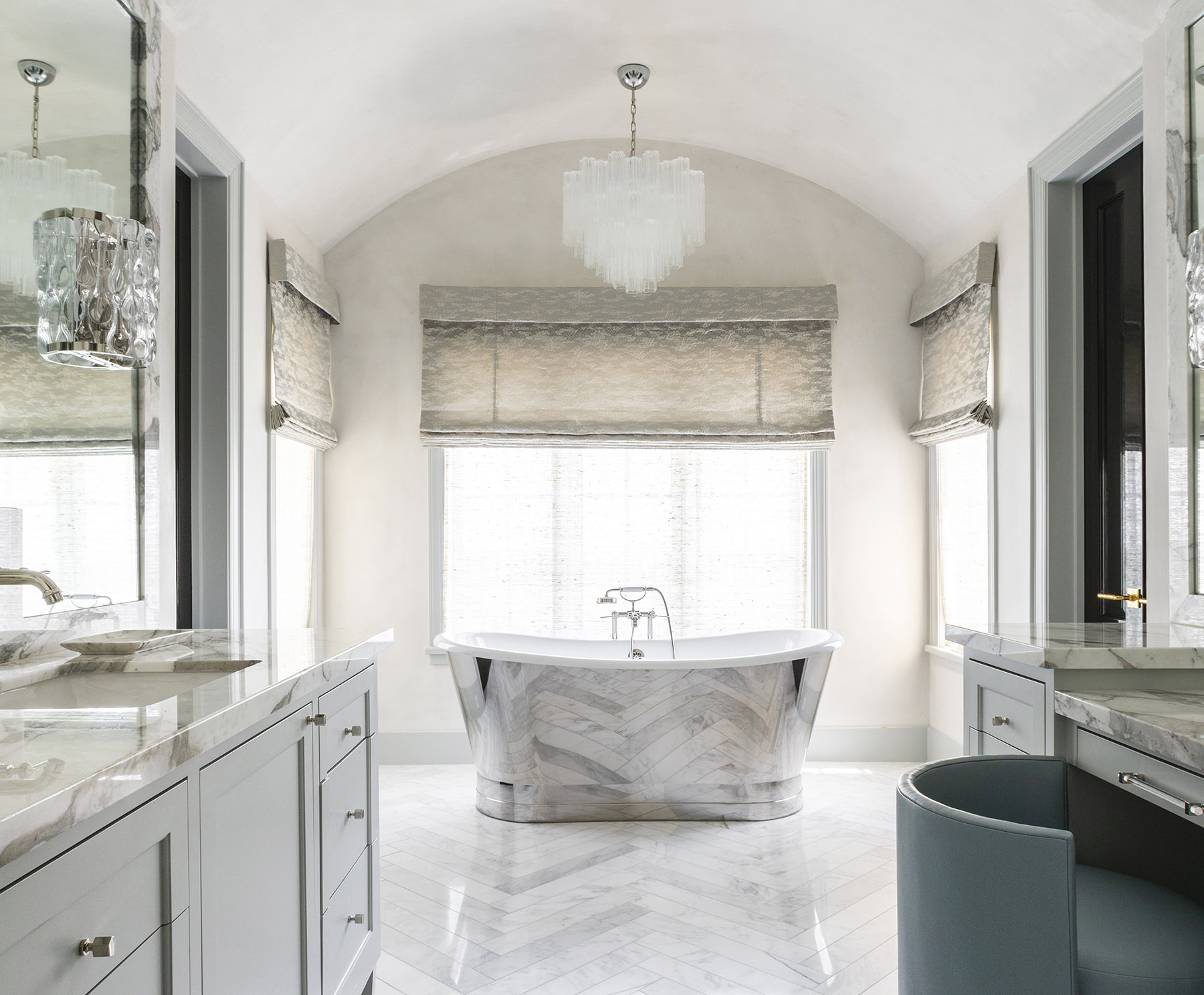 elegant master bathroom with marble tub
