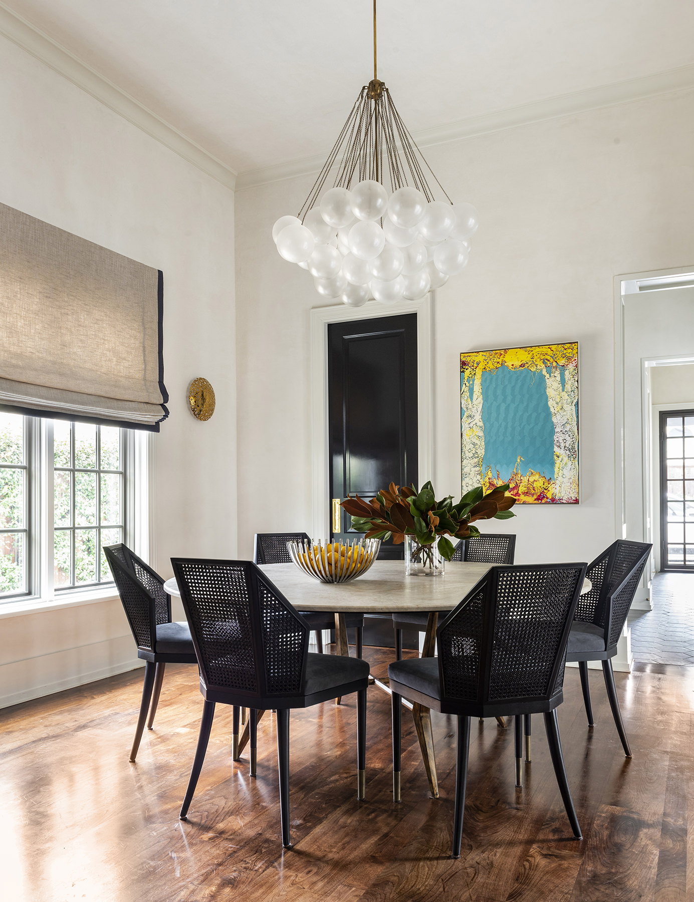 elegant dining room with wooden floors